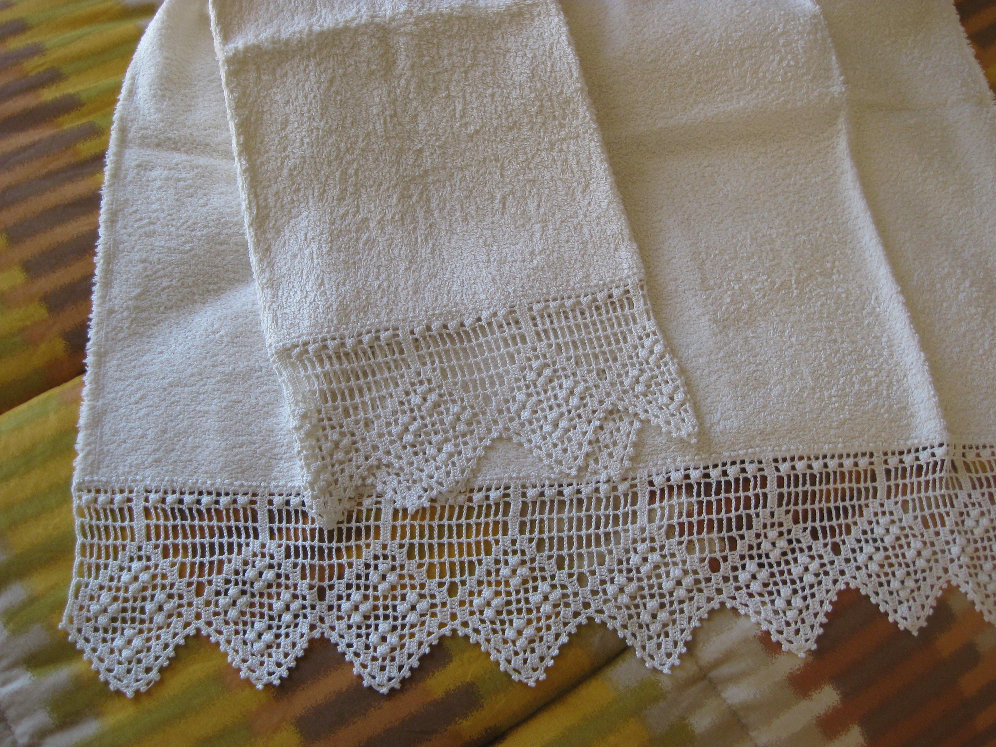 Coppia di asciugamani gift for Bordi e pizzi all uncinetto