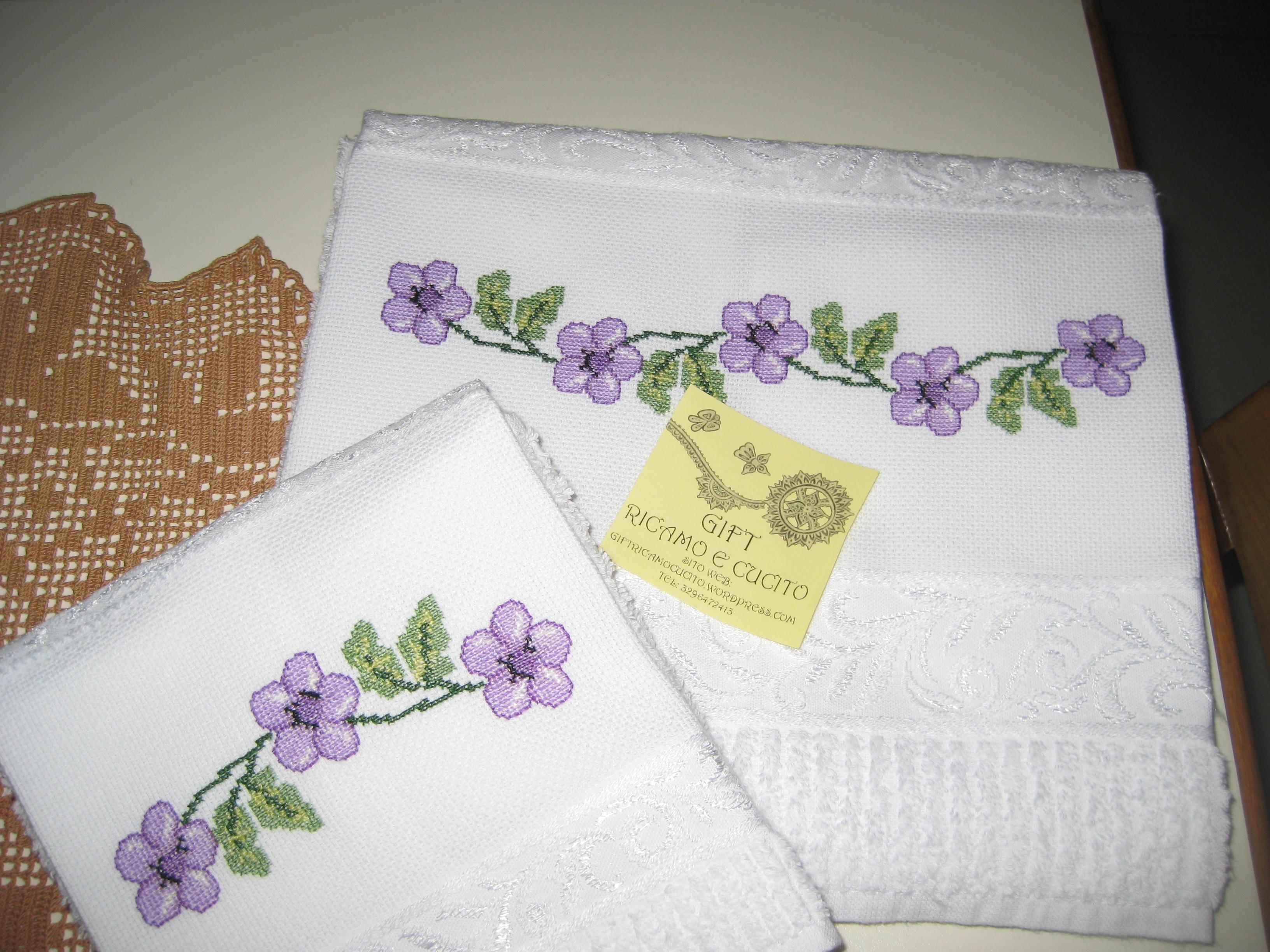 Estremamente Asciugamani con fiori ricamati | Gift EZ99