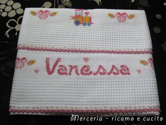 Coppia-asciugamani-in-cotone-nido-d'ape-con-treno-per-Vanessa