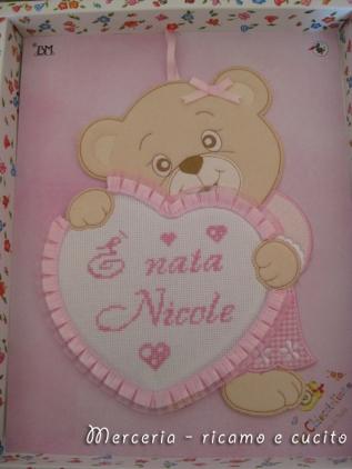 coccarda-fiocco-nascita-cuore-orsetto--è-nata-Nicole