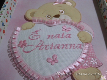 Coccarda-fiocco-nascita-orsetto-con-cuore-rosa-per-Arianna-1