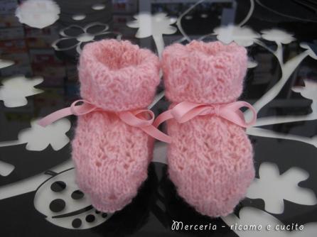 scarpette-neonato-di-lana-ai-ferri-rosa