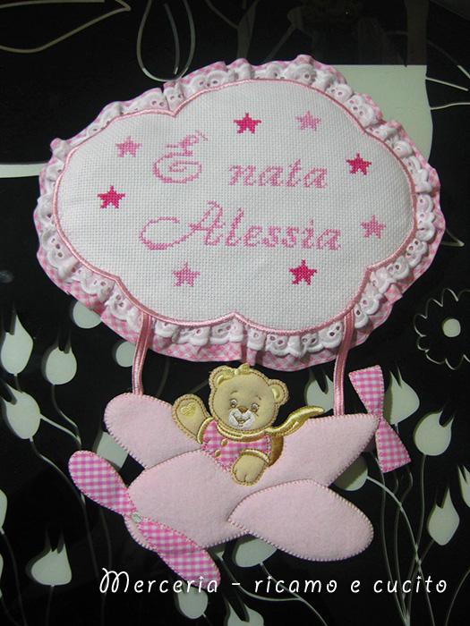 Fiocco nascita aeroplano per Alessia