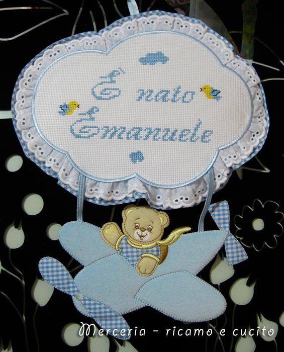 Fiocco nascita aeroplano per Emanuele