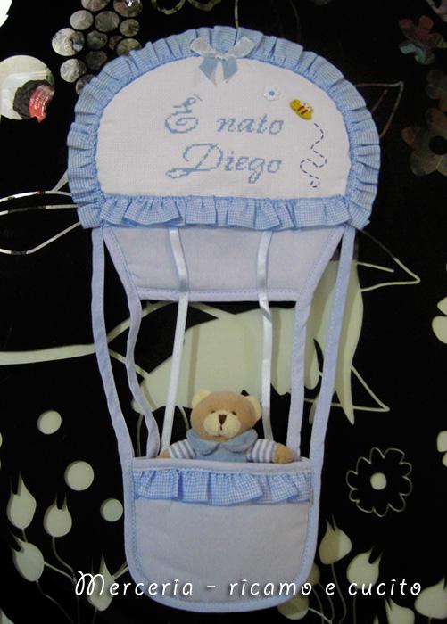 Fiocco nascita mongolfiera per Diego