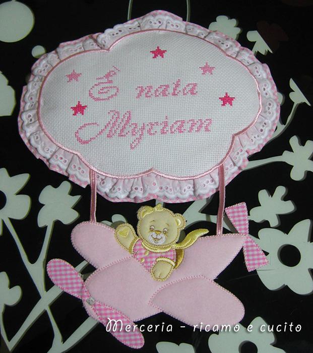 "Fiocco nascita aeroplano rosa ""E' nata Myriam"""