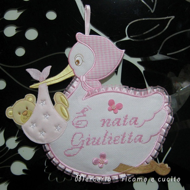 "Fiocco nascita cicogna ""E' nata Giulietta"""