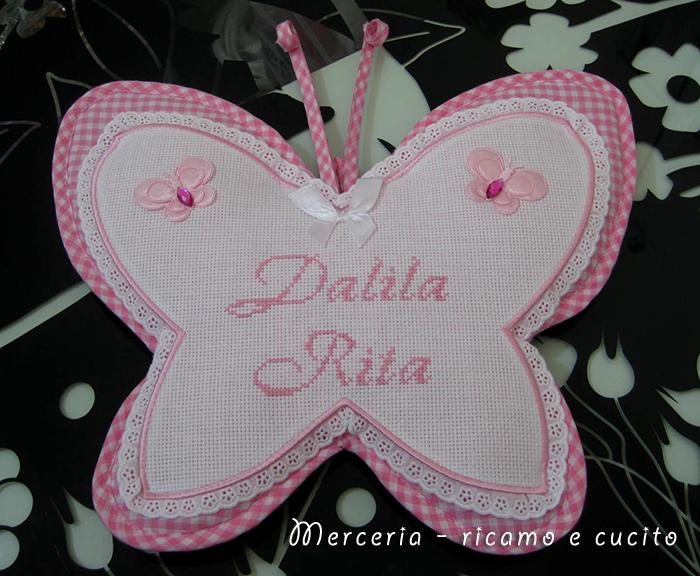 Fiocco nascita farfalla per Dalida Rita