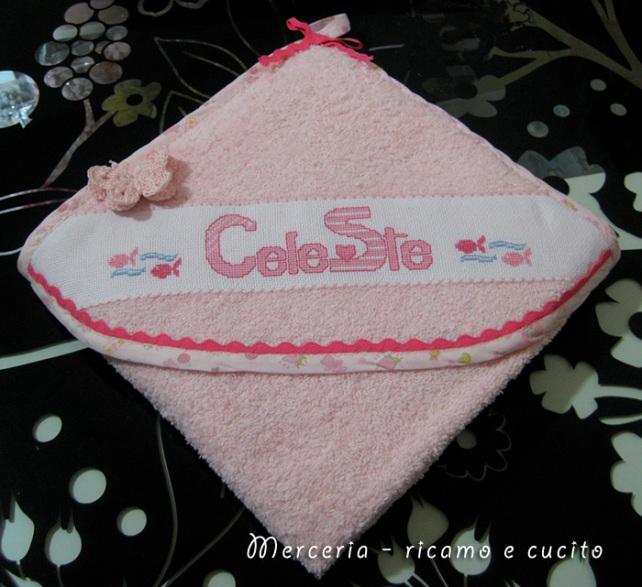 Accappatoio neonata con farfallina per Celeste