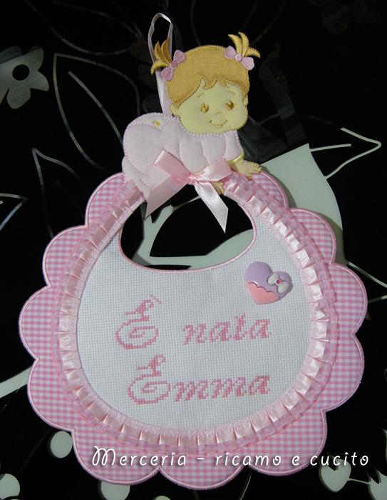 """Fiocco nascita bavetta """"E' nata Emma"""""""