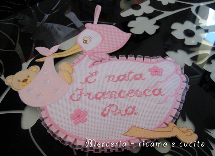 Fiocco nascita cicogna e nata francesca pia gift - Cicogna da giardino per nascita ...