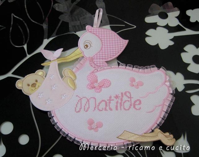 Fiocco nascita cicogna per Matilde