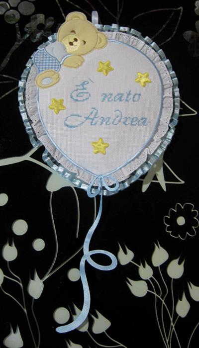 """Fiocco nascita palloncino """"E' nato Andrea"""""""