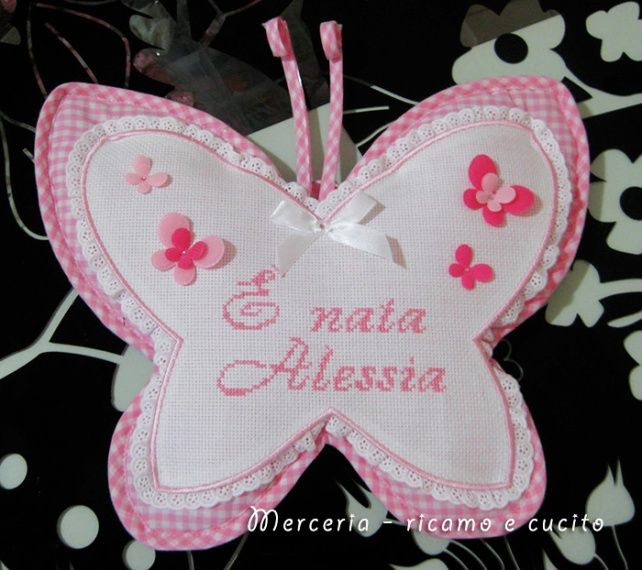 """Fiocco nascita farfalla rosa """"E' nata Alessia"""""""