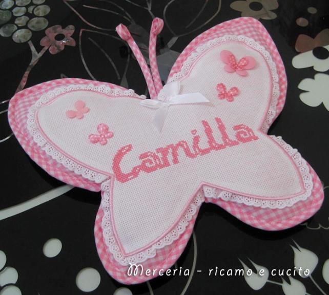 Fiocco nascita farfalla rosa per Camilla