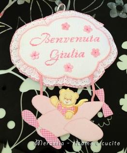"Fiocco nascita aeroplano rosa ""Benvenuta Giulia"""