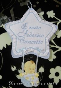 """Fiocco nascita stella """"E' nato Federico Concetto"""""""