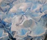 Sacchettini bomboniere portaconfetti celeste con cuore per David