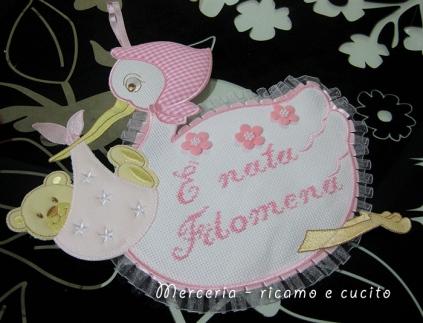 Fiocco nascita cicogna E' nata Filomena