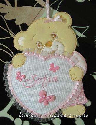 Fiocco nascita orsetto con cuore per Sofia