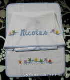Coppia asciugamani in cotone nido d'ape con stelline per Nicolas