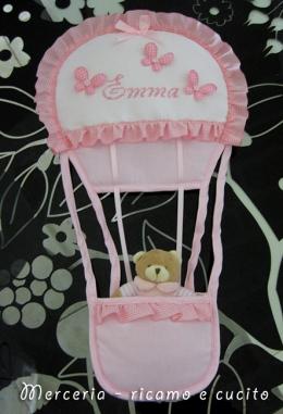 Busta porta oggetti e fiocco nascita mongolfiera per Emma