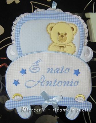 """Fiocco nascita macchina """"E' nato Antonio"""""""