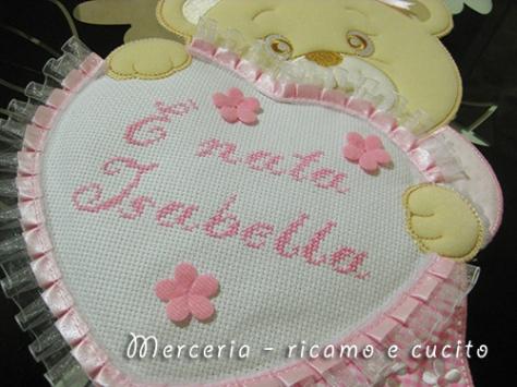 """Fiocco nascita orsetto con cuore """"E' nata Isabella"""""""