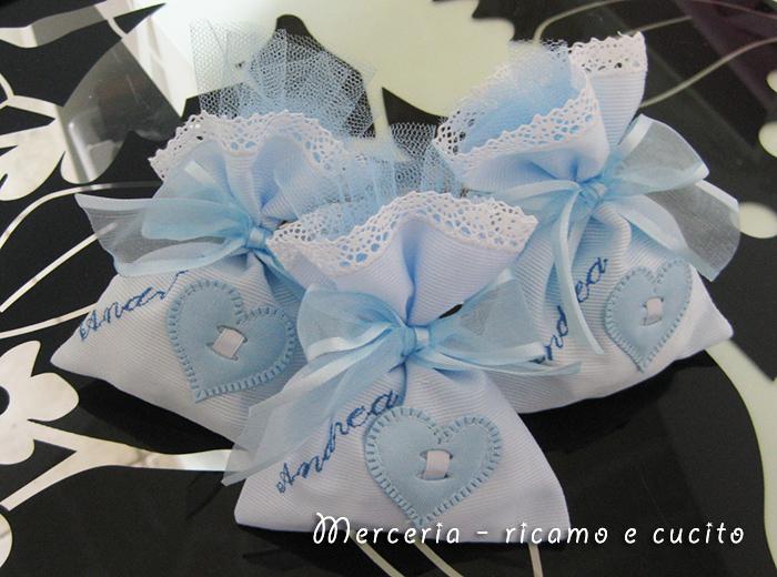 Molto Sacchettini bomboniere portaconfetti celeste con cuore per Andrea  WU68