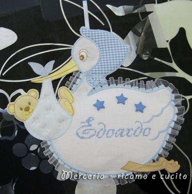 Fiocco nascita cicogna celeste per Edoardo