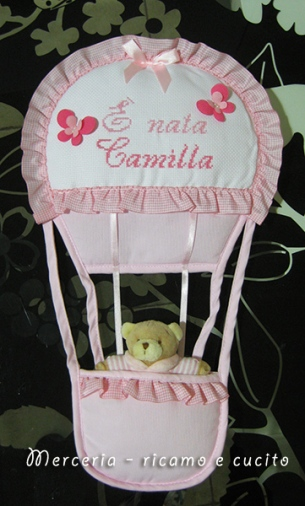 """Fiocco nascita mongolfiera """"E' nata Camilla"""""""