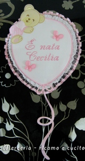 """Fiocco nascita palloncino rosa """"E' nata Cecilia"""""""