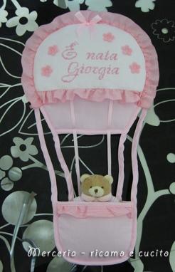 """Fiocco nascita mongolfiera rosa """"E' nata Giorgia"""""""