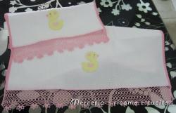 Coppia asciugamani in cotone nido d'ape con paperette