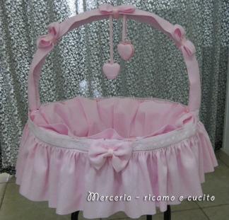 Cestino per nascita gift ricamo e cucito - Cesta porta neonato ...