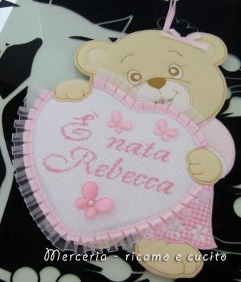 Fiocchi nascita macchina e orsetto con cuore per Rebecca