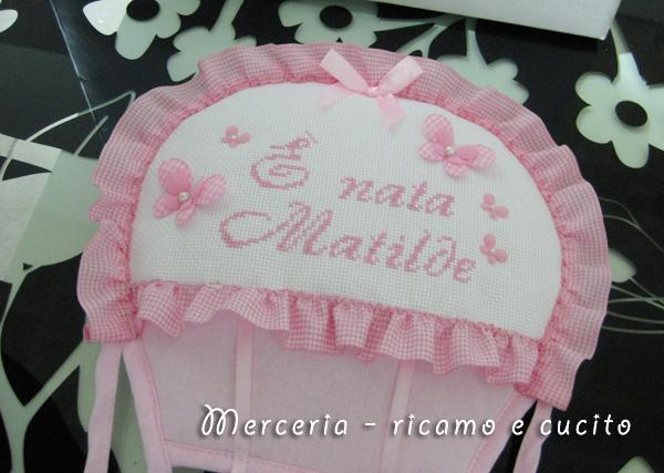 """Fiocco nascita mongolfiera rosa """"E' nata Matilde"""""""