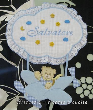 Fiocco nascita aeroplano celeste per Salvatore