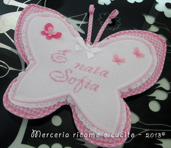 Sacchetto nascita e fiocco nascita farfalla per Sofia