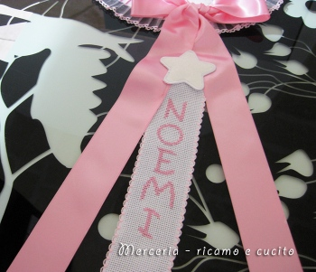 Fiocco nascita luna rosa per Noemi