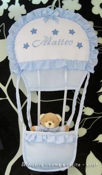 Fiocco nascita mongolfiera celeste per Matteo