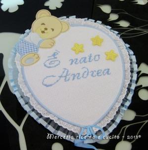 "Fiocco nascita palloncino celeste ""E' nato Andrea"""