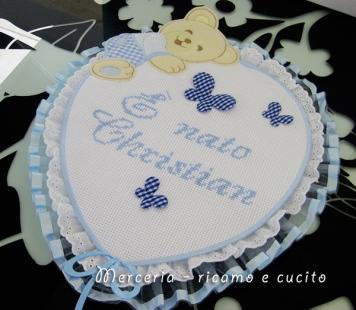 """Fiocco nascita palloncino celeste """"E' nato Christian"""""""
