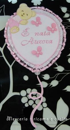"Fiocco nascita palloncino rosa ""E' nata Aurora"""