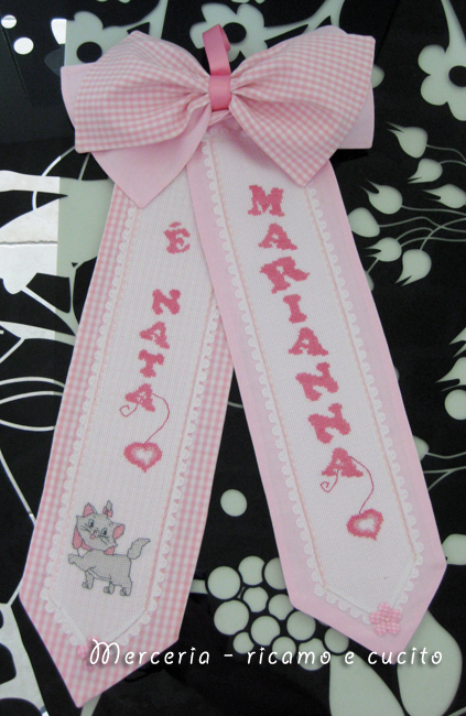 "Fiocco nascita rosa ""E' nata Marianna"""