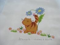Copertina in cotone con gatto ricamato