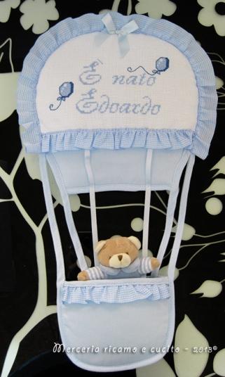 """Fiocco nascita mongolfiera celeste """"E' nato Edoardo"""""""