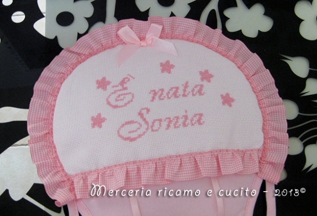 "Fiocco nascita mongolfiera rosa ""E' nata Sonia"""