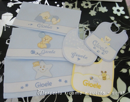 Sacchetti nascita personalizzati e bavette per Gioele