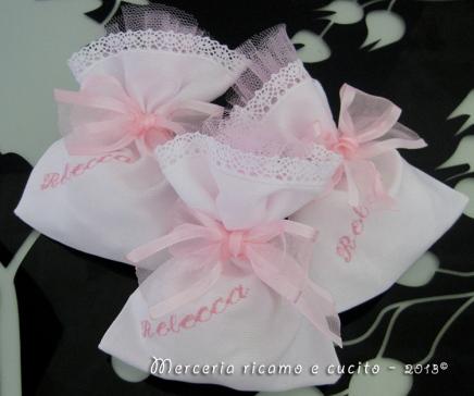Sacchettini bomboniere portaconfetti bianchi per Rebecca